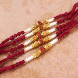 Set of Five Rudraksha Rakhi