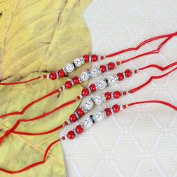 Set of Five Silver Shiny Balls Rakhi