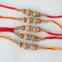 Set of Five Wood and Diamond Ring Rakhi