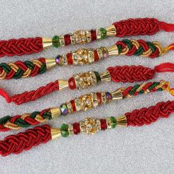 Set of Five Zardosi Moti Rakhi