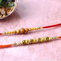 Combo of Wooden Beads Rakhi and Gloden Beads Rakhi