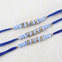 Set of Three Designer Rakhis with Blue Marble Print Beads