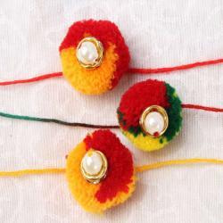 Set of Three Multicolor Gonda Rakhis Combo