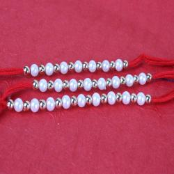 Set of Three Pearl and Silver Beads Rakhis