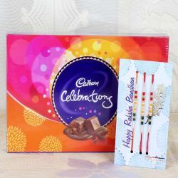 Set of Three Rakhi with Cadbury Celebration Chocolate Pack