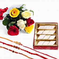 Set of Three Rakhi with Kaju Katli and Mix Roses
