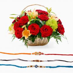 Set of Three Rakhi with Mix Flowers Basket