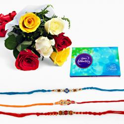 Set of Three Rakhi with Mix Roses and Celebration Pack