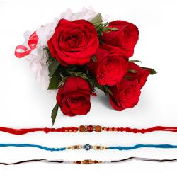 Set of Three Rakhi with Red Roses Bouquet