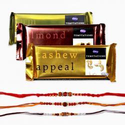 Set of Three Rakhi with Temptations Chocolate