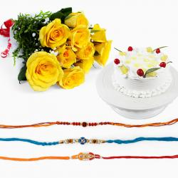 Set of Three Rakhi with Yellow Roses and Cake