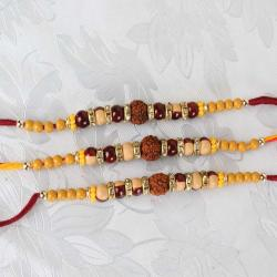 Set of Three Rudraksha Beaded Rakhi