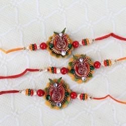 Set of Three Swastika Kalash Floral Rakhi