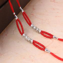 Set of Two Colorful Pearl with Diamond Ring Rakhi