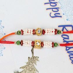 Set of Two Colorful Tiny Bead Rakhis