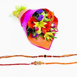 Set of Two Designer Rakhi with Bouquet