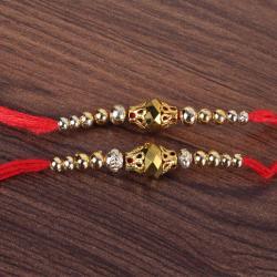 Set of Two Golden Bead Rakhis