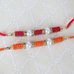 Set of Two Pearl and Small Beads Rakhi