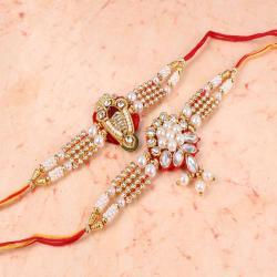 Set of Two Pearl Bracelet Design Rakhi for Brother