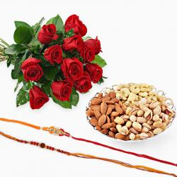 Set of Two Rakhi with 12 Red Roses and Mix Dryfruits