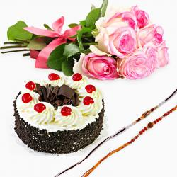 Set of Two Rakhi with Black Forest Cake and 6 Pink Roses