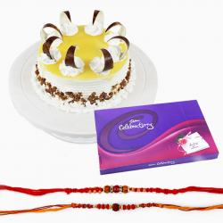 Set Of Two Rakhi with Butterscotch Cake and Celebration Pack