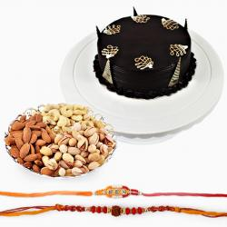 Set of Two Rakhi with 500 Gms Dryfruits and Half Kg Chocolate Cake