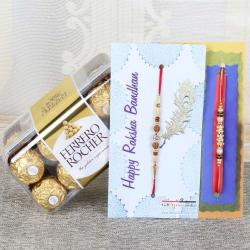 Set of Two Rakhi with Ferrero Rocher Chocolate