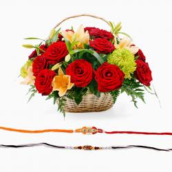 Set of Two Rakhi with Flower Basket