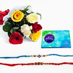 Set of Two Rakhi with Mix Roses and Celebration Pack