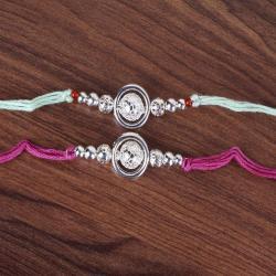 Set of Two Silver Laminate Beads Rakhi