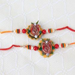 Set of Two Swastika Kalash Floral Rakhi