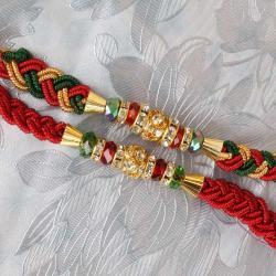 Set of Two Zardosi Motif Rakhi