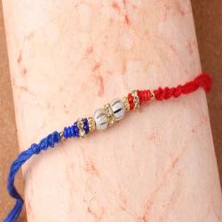 Silver Shiny and Colorful Beads Rakhi