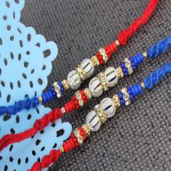 Silver Shiny and Colorful Beads Triple Rakhi