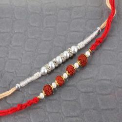 Silver with Rudraksha Beads Rakhi Set