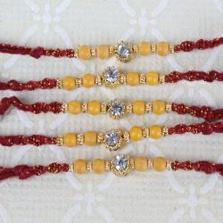 Single Diamond Dial with Beads Five Rakhi Set