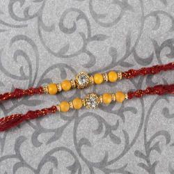 Single Diamond Dial with Beads Two Rakhi Set
