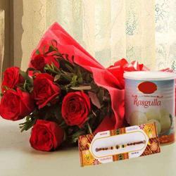 Six Red Roses with Rasgulla and Rakhi