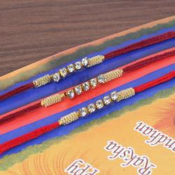 Small Diamond Chain Three Rakhi Set