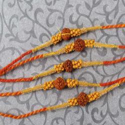Special Rudraksha with Tiny Wooden Beads Rakhi