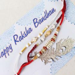Stylish Shiny and Pearl Rakhi Set