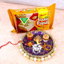 Swastik Rakhi with Soan Papdi and Ganesha Designer Thali