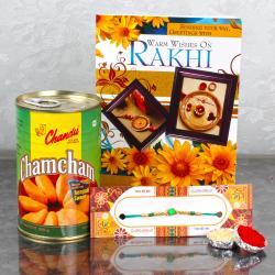 Sweetness of Chamcham with Rakhi Thread and Rakhi Greeting Card