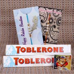 Swiss White Toblerone Chocolate with Pearl Rakhi