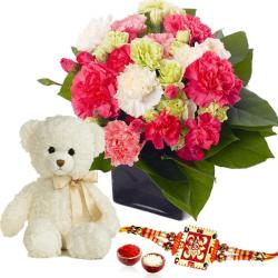 Teddy Bear with Mix Carnation and Rakhi