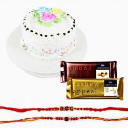 Tempatation Chocolates with Set Of Two Rakhi and Cake