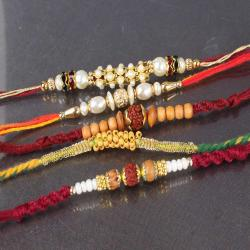 Thread Pack of Five Pearl and Wooden Sphere Rakhi