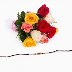 Thread Rakhi with Mix Roses Bouquet