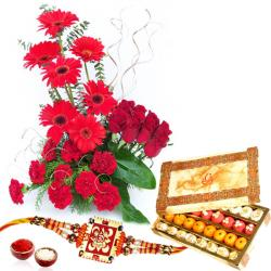 Thread Rakhi with Red Flowers Basket and Sweets